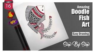 Doodle Fish Art l Step by Step l Speed Drawing