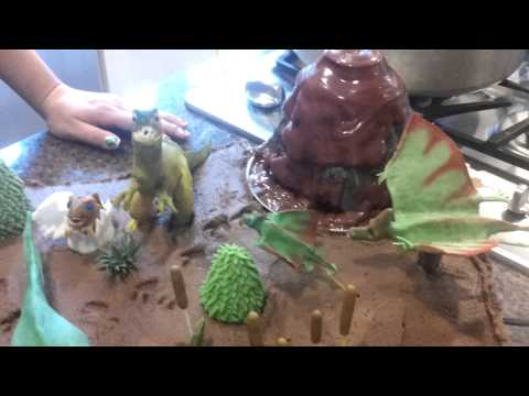 Cretaceous Cake with Working Volcano!