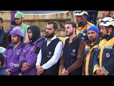 هيئات المجتمع المدني في إدلب تنظم وقفة احتجاجية تنديدا باستهداف دوما  - 22:21-2018 / 4 / 9