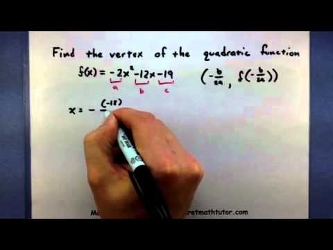 Pre-Calculus - Find the vertex of a quadratic function using the vertex  formula