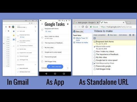 How Google Tasks Integrates From Gmail To App To Standalone URL