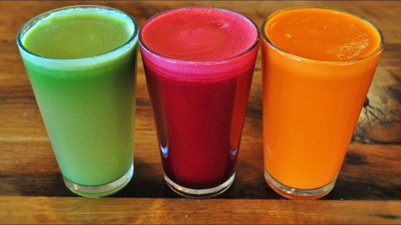 Vegan Foods Juicing With Fruits And Vegetables 3 Kinds