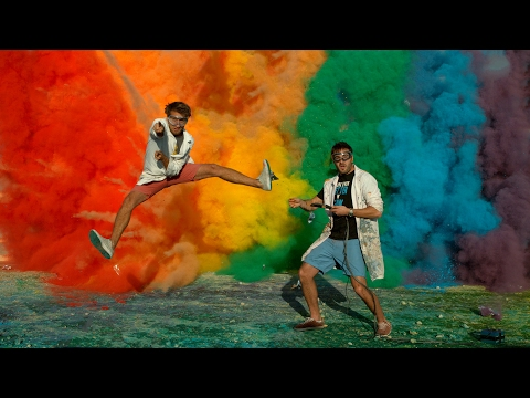 Download Youtube: 25 Airbag Rainbow Explosion in 4K - The Slow Mo Guys