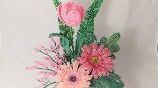 композиция Розовые Мечты Бисероплетение Цветы из бисера