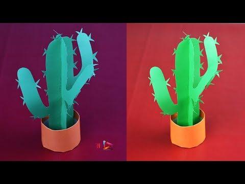 How To Make a Paper Cactus Tutorial🌵DIY 3D Paper Origami Cactus