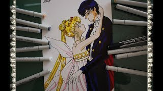 Cómo dibujar a Neo Queen Serenity  Reina  & Tuxedo Mask  How To Draw Sailor Moon R Speed Draw