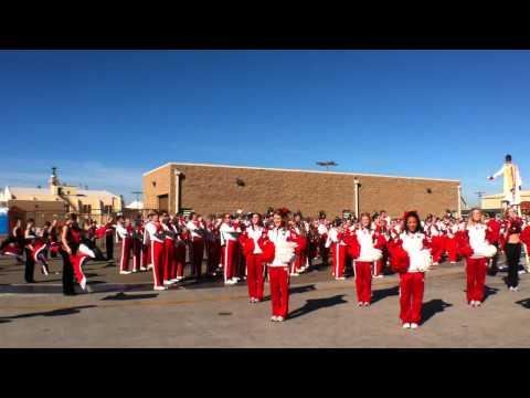 University of Nebraska Cornhuskers marching band and cheerleaders at USS Ronald Reagan
