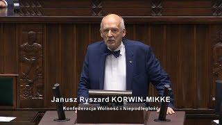 Janusz Korwin-Mikke - pierwsze przemówienie w Sejmie IX kadencji 12.11.2019