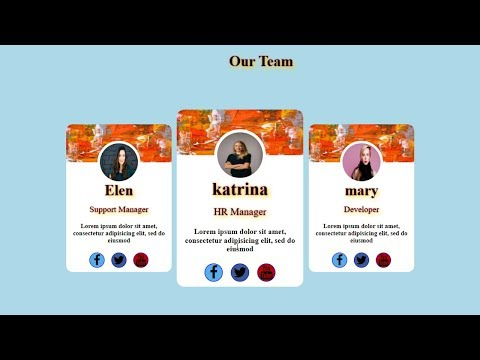 Our Team Info Cards Section - HTML And CSS Tutorial-