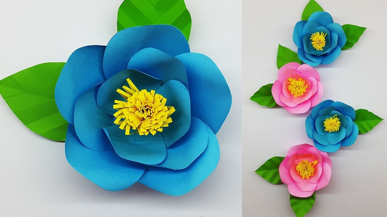 paper flower camellia making with template  diy paper