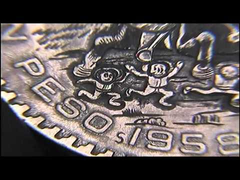 1958 José Guadalupe Posada  Un Peso Mexicanos coin carving by Shaun Hughes