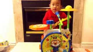 Pororo Drum Set: twinkle twinkle little star, muffin man, and three bears song...