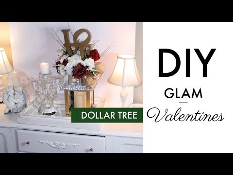 💖DIY DOLLAR TREE GLAM VALENTINES DECOR 💖ELEGANT FLORAL ARRANGEMENT MIRROR CENTERPIECE