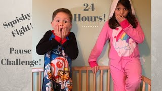 24 HOURS IN A CRIB!!! PAUSE CHALLENGE AND SQUISHY FIGHT!!!