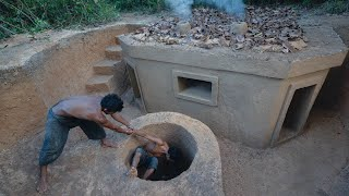 Incredible! Building Underground Temple Villa and Water Well in the Jungle