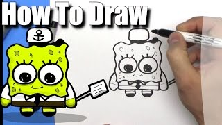 How To Draw a Cute Cartoon Spongebob- EASY Chibi - Step By Step - Kawaii
