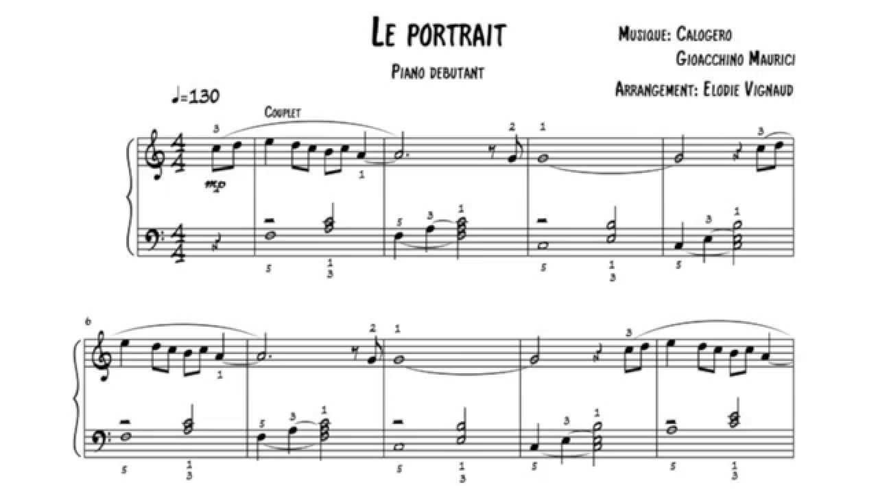 Extrêmement Calogero - Le Portrait - Partition piano débutant - YouTube IX02