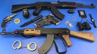 Toy Guns Toys for Kids !! Guns AK-47 Military equipment - Box of Toys