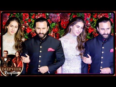 Saif Ali Khan POSES With Daughter Sara Ali Khan At Ranveer Deepika Mumbai Reception Party 2018