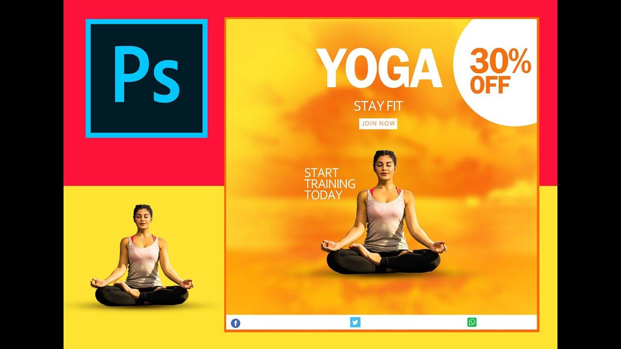 Yoga Banner Design In Photoshap Effect Lab Youtube