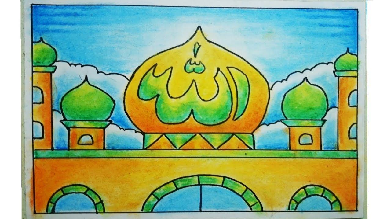 Cara Menggambar Dan Mewarnai Kaligrafi Dan Masjid Yang Bagus