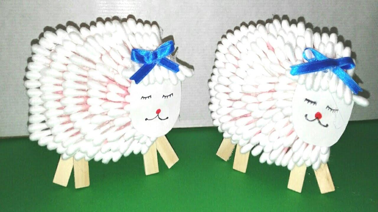 Oveja con bastoncillos facil manolidades diy manualidades - Como hacer una oveja ...