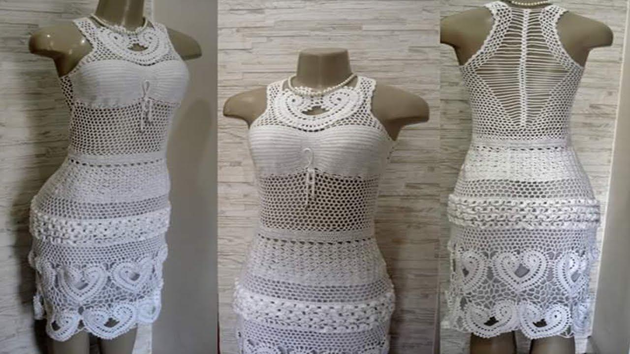 Vestido blanco para dama a crochet