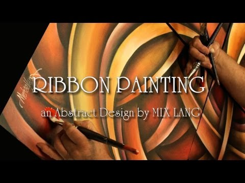 Abstract Ribbon Painting Techniques How to Demo Blending, Sh