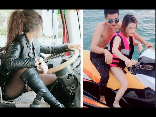????????? ??????????????????????? funny videoPlaying rowing with beautiful women