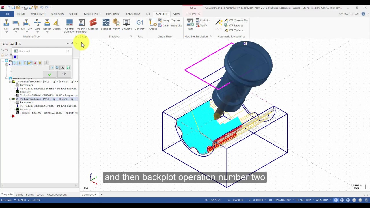 Mastercam 2018 Multiaxis Essentials Tutorial 10 Part 4 - Multisurface to  Finish the Part (Captioned)
