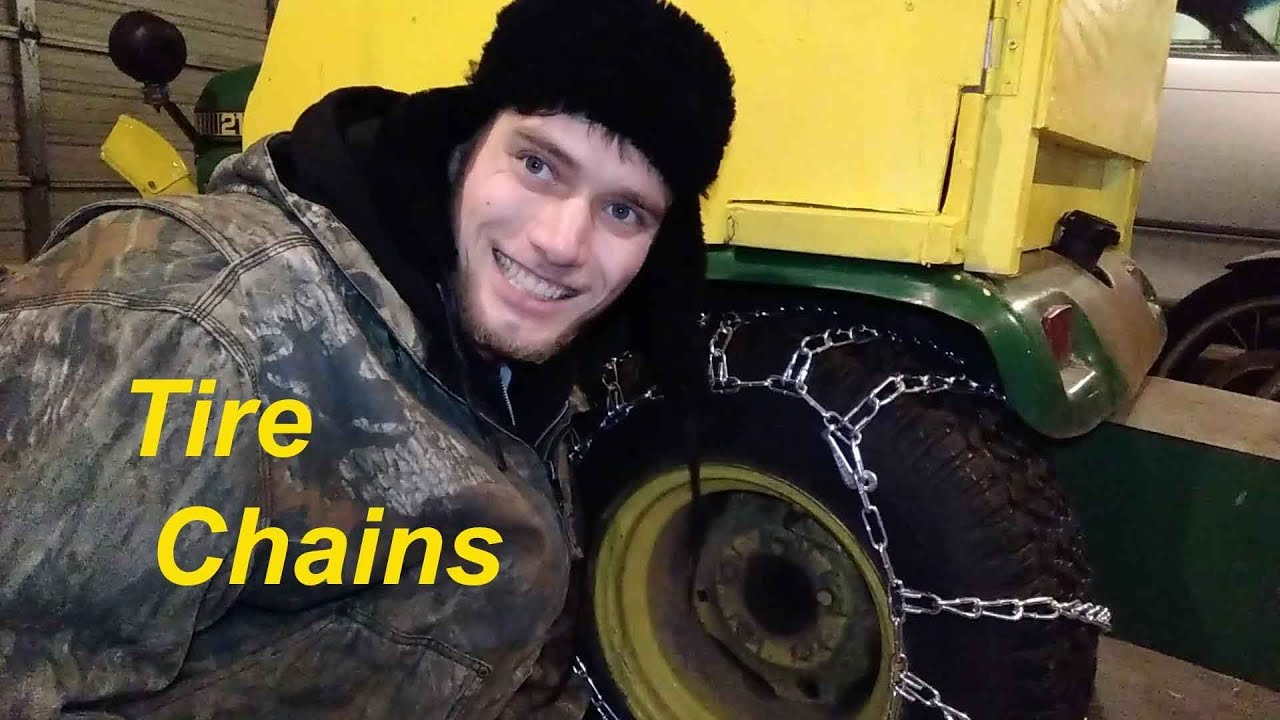 How to Put Tire Chains on a John Deere tractor