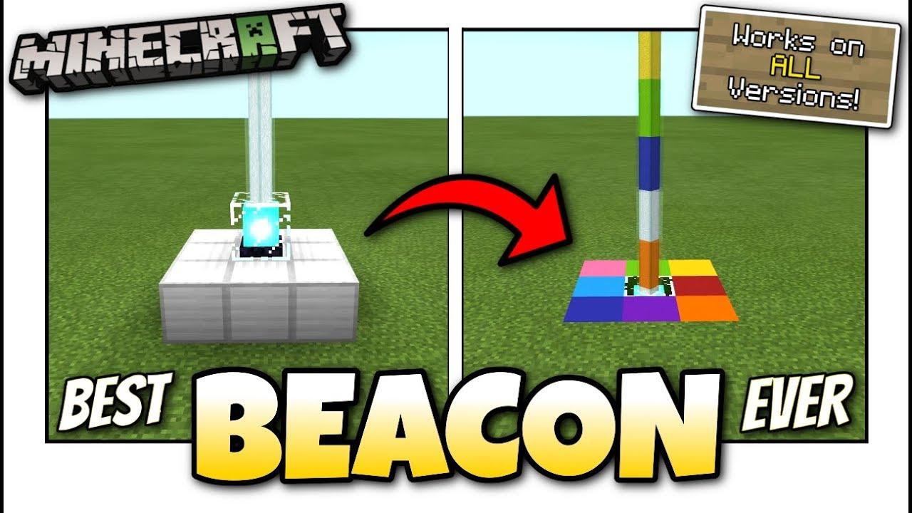 Minecraft Best Rainbow Beacon Tutorial Works On All Versions Youtube