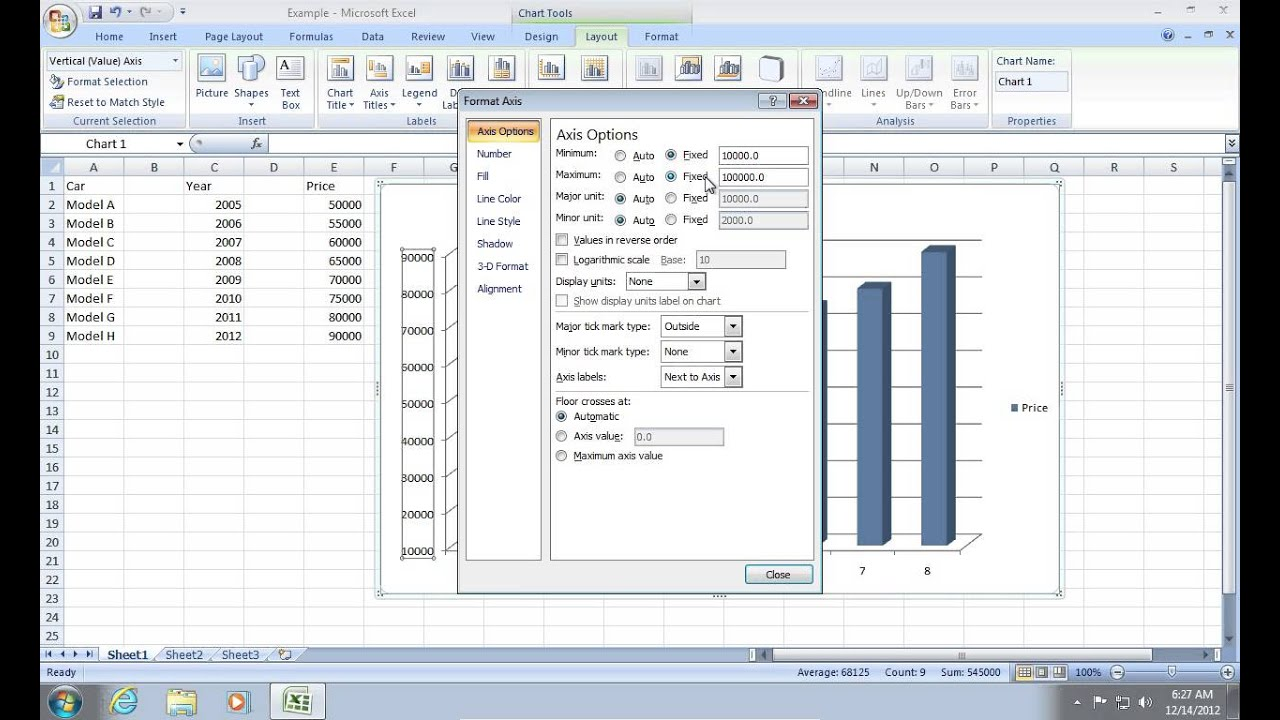 How to change excel 2007 chart scale youtube ccuart