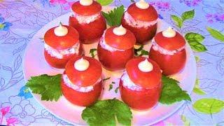 Это оригинальная и вкусная закуска украсит любой праздничный стол! Помидоры с салатом из ветчины.