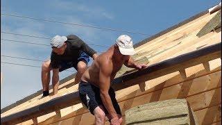 Гибкая черепица. Монтаж крыши в Раменском районе, мягкая кровля, #деревянные дома Могута.