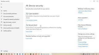 Windows 10 Windows Security Device Security Hardware type