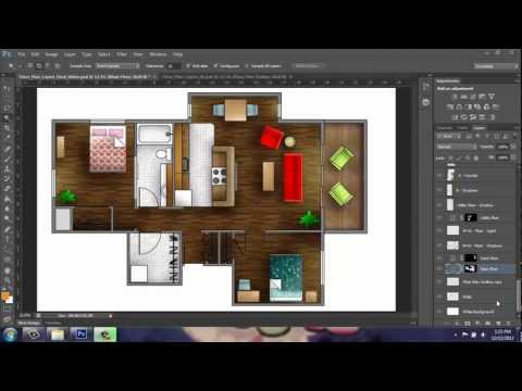Adobe Photoshop Cs6 Rendering A Floor Plan Youtube