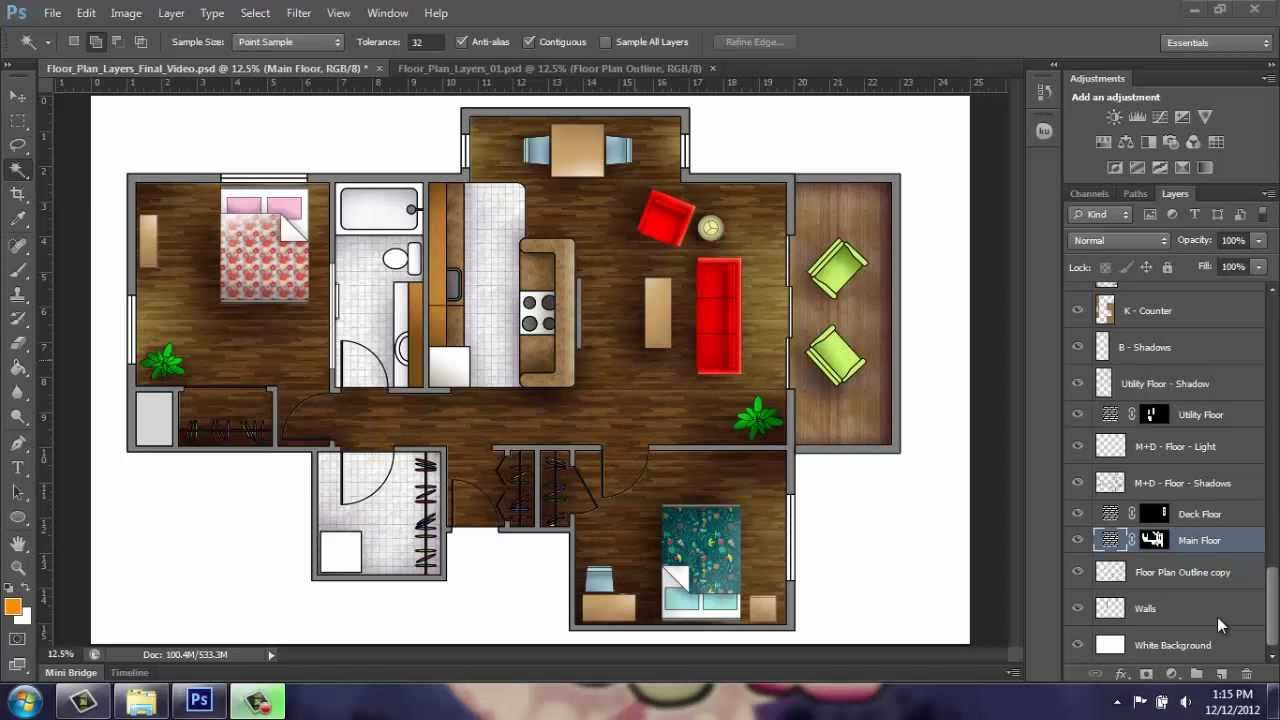 Adobe Photoshop Cs6 Rendering A Floor Plan Part 1