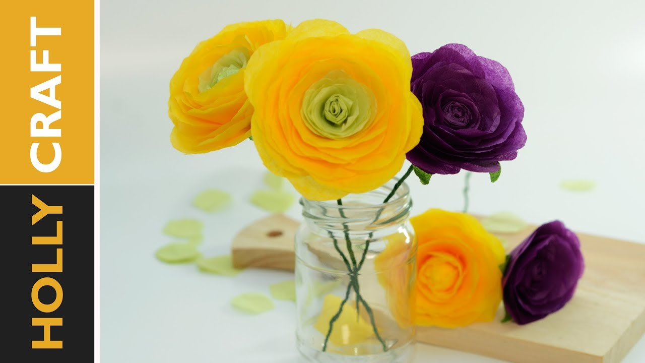 How To Tissue Paper Flowers Realistic Ranunculus Youtube