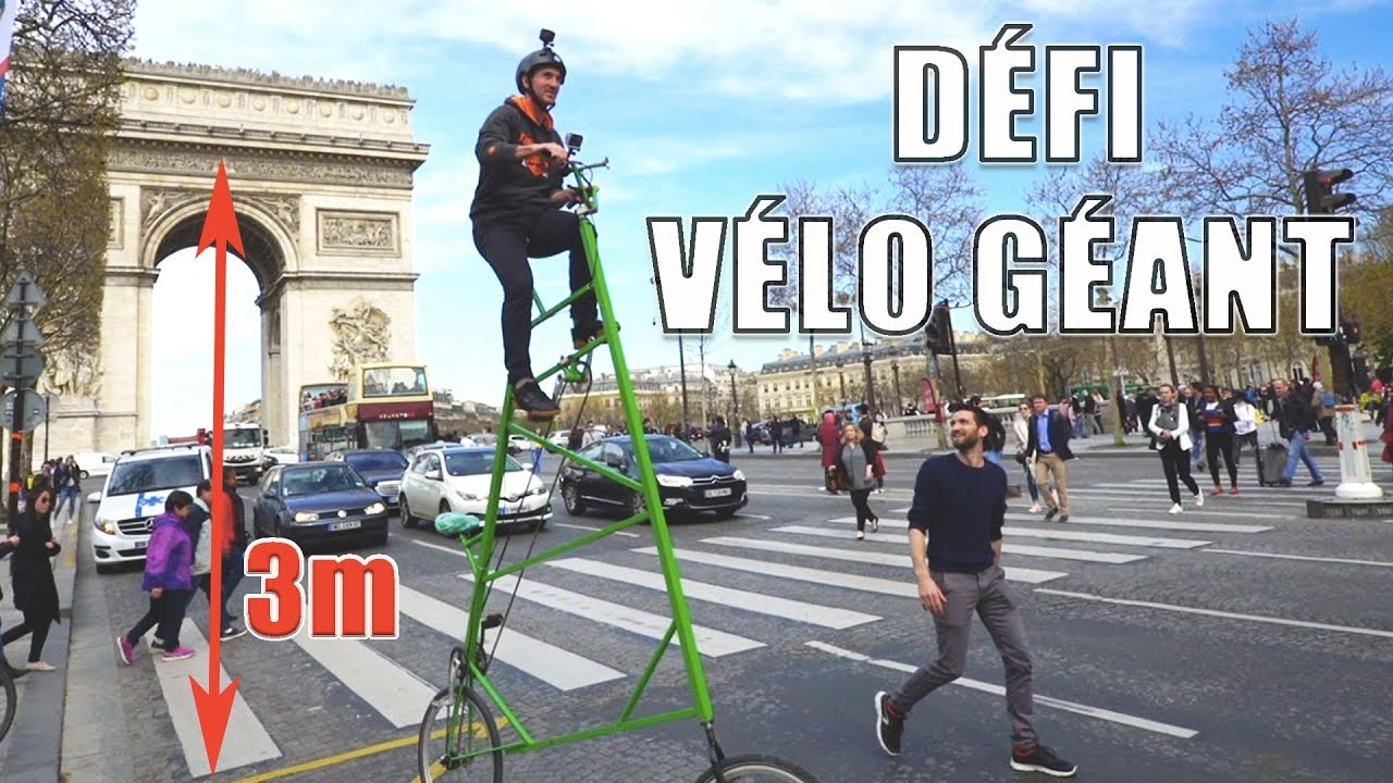 Descendre les CHAMPS-ÉLYSÉES en VÉLO GÉANT ! (feat. Aurelien Fontenoy)