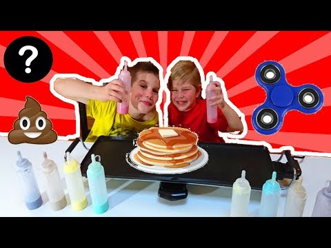 pancake-art-challenge-!!!---antoine-vs-pierre-:-handspinner,-emoji-poop,-smiley-amoureux