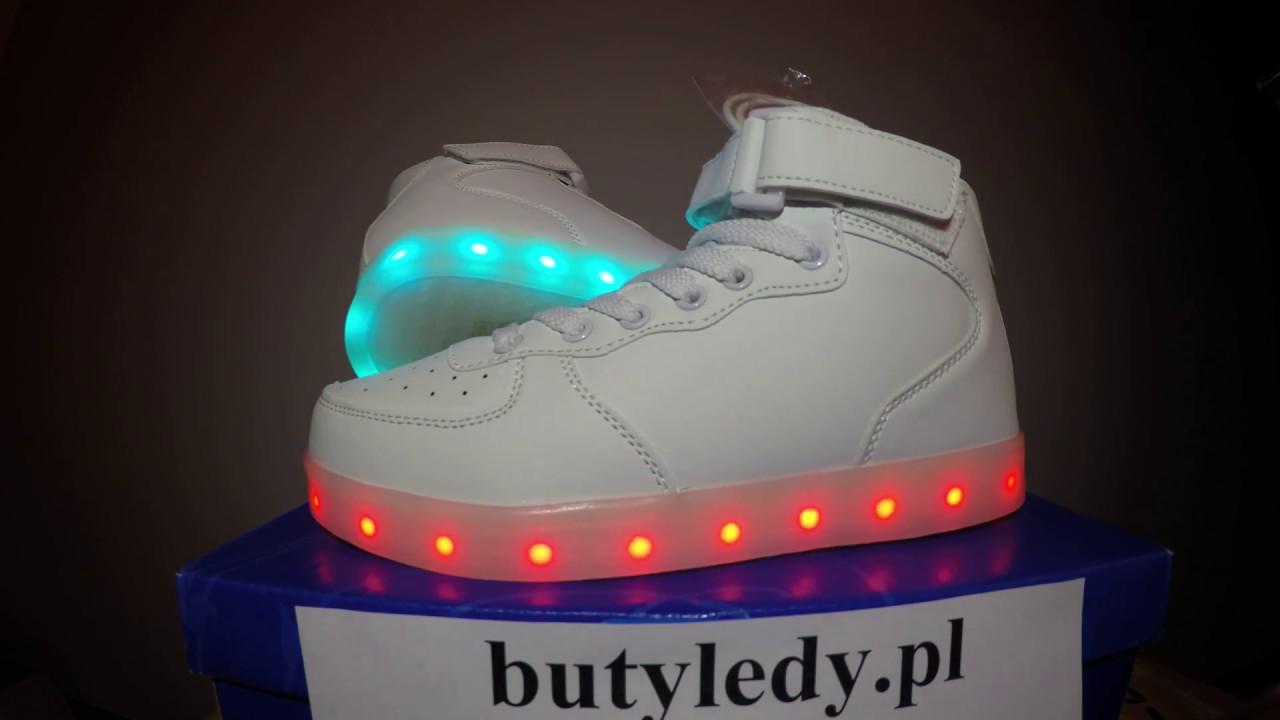 Buty LED Białe Wysokie Air Force