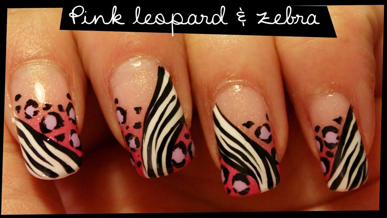 Pink zebra nails nails pinterest - Pink Leopard Zebra Nail Art Youtube Zebra Nail Art Designs