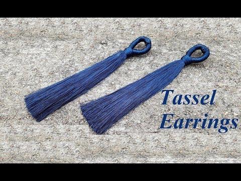How to make tassel earrings at home//Blue tassel earrings//Step by step//DIY//Tutorial//Creation&you