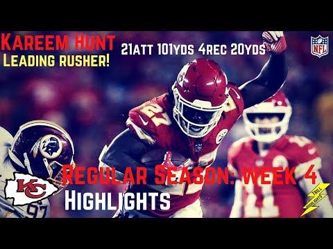 Kareem Hunt Week 4 Regular Season Highlights Leading Rusher | 10/02/2017