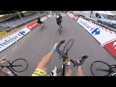 Wheelie across Tour De France finish line