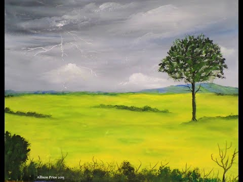 Acrylic Painting Tutorial, FULL lesson How to paint a STORMY SKY, lightening, landscape
