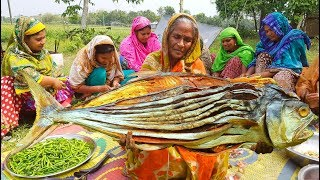 do you know this giant fish name dry fish vegetables mixed dry curry cooking by women