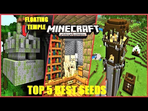 Minecrat PE 5 BEST Seeds - FLOATING Jungle Temple ! Dungeon IN Library & MORE | MCPE 1.13