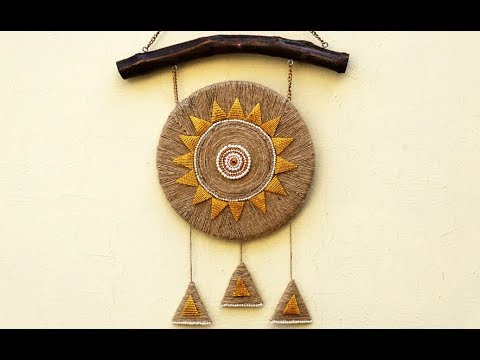 Diy easy room decor jute wall hanging best out of waste for Wall hanging best out of waste